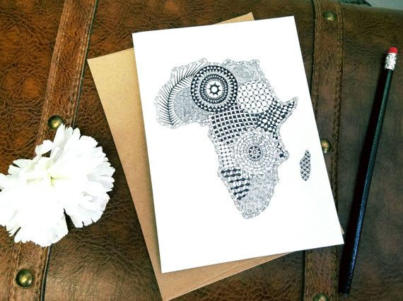 Handdrawn Africa all occasion zentangle greeting card. https://www.etsy.com/listing/510986361/recycled-zantangle-africa-greeting-card