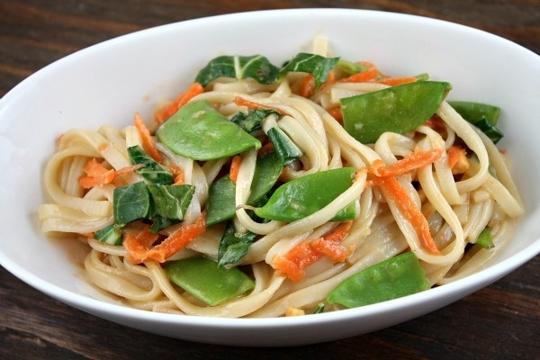 Udon Noodles with Asian Vegetables  Peanut Sauce from Recipe Girl Must try this looks deelish! 10 to 11 points on Weight Watchers ( or you can use fresh bean sprouts if you don't want the noodles