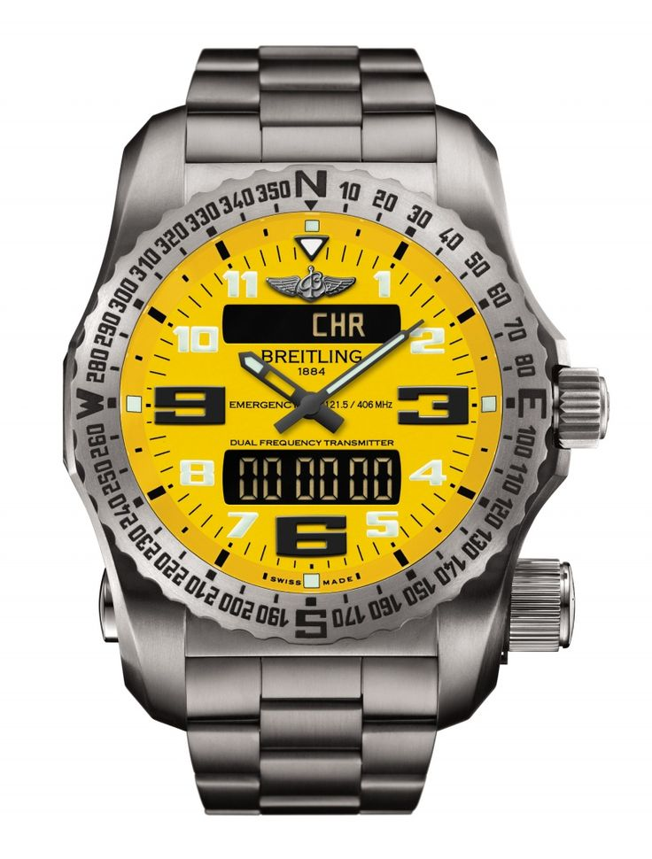 Breitling Emergency II survival instrument - The new Breitling Emergency II features a built-in personal location beacon equipped with a dual frequency transmitter compliant with Cospas-Sarsat international satellite alert system. The watch is developed in collaboration with major scientific institutes and it is designed to help issue alerts and to guide search and rescue missions.