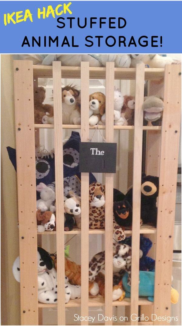 IKEA TOY STORAGE HACKS - IKEA GORM shelf make into a stuffed toy storage zoo / Grillo Designs