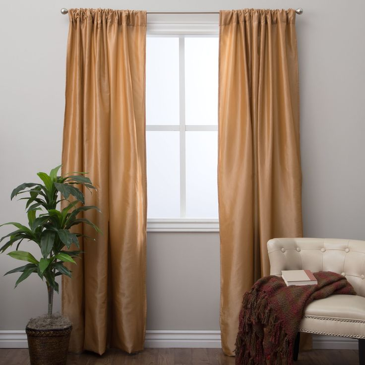 Saro Classic 96-inch Curtain Panel with Lining (Caramel), Brown, Size 96 Inches (Polyester, Solid)