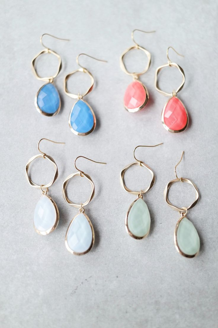 "Add a drop of color with these faceted bead earrings! Details: - 2"" drop - Gold plated"