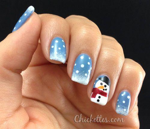 Chickettes.com Winter Snowman Nail Art