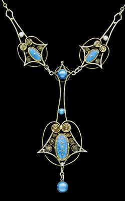 Skonvirke Necklace    Gilded silver Enamel  Norwegian, c.1900