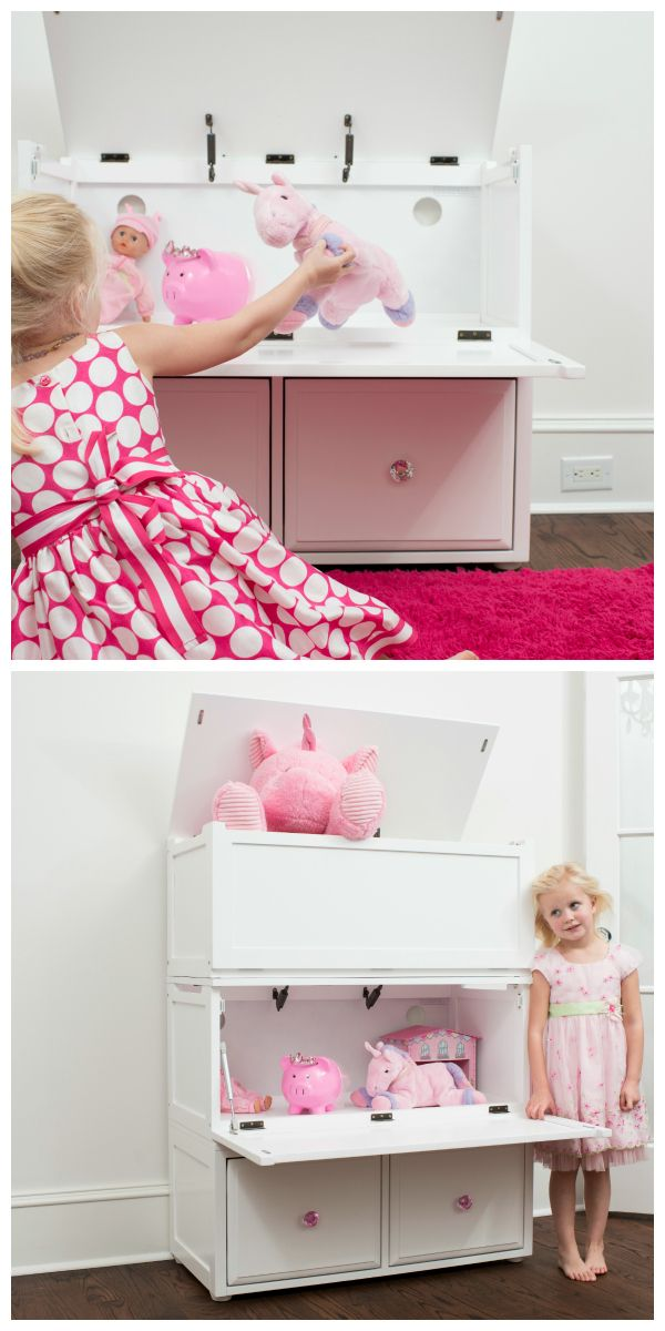 Dual opening toy chest - top is toy storage box and bottom unit has two pullout drawers. Configure how you want with Maxtrix.