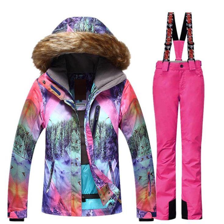 GSOU SNOW Brand Ski Suit Women Ski Jacket Pants Waterproof Mountain Skiing Suit Snowboard Sets Winter Outdoor Sports Clothing