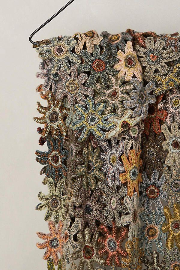 Pieced Flowers Wool Scarf