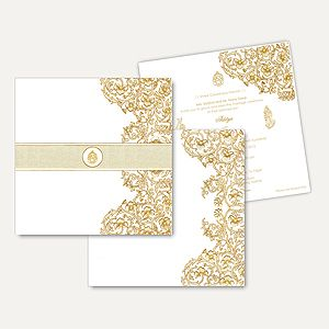 Hindu Wedding Cards HU2286-Ga - This invitation card with a unique captivating style and design theme is made from high quality card paper. Beautiful design done in gold print an astonishing effect.