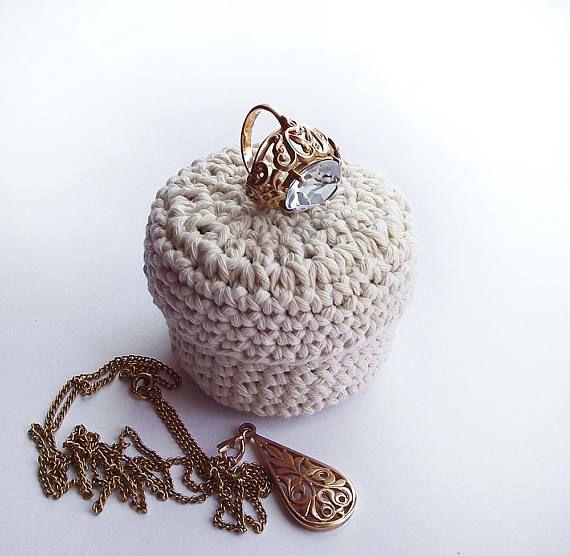 White gift box Holiday Gift wrap Basket crochet Small gift box #white #gift #box