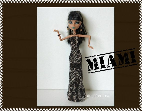 Monster High Doll kleding - Reptile Egyptische jurk & sieraden Set - handgemaakt door dolls4emma