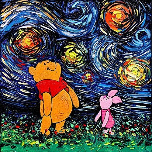 Winnie The Pooh and Piglet Inspired Art Print Poster - Starry Night - van Gogh Never Saw Hundred Acre Wood - Art by Aja 8x8, 10x10, 12x12, 20x20, and 24x24 inch sizes