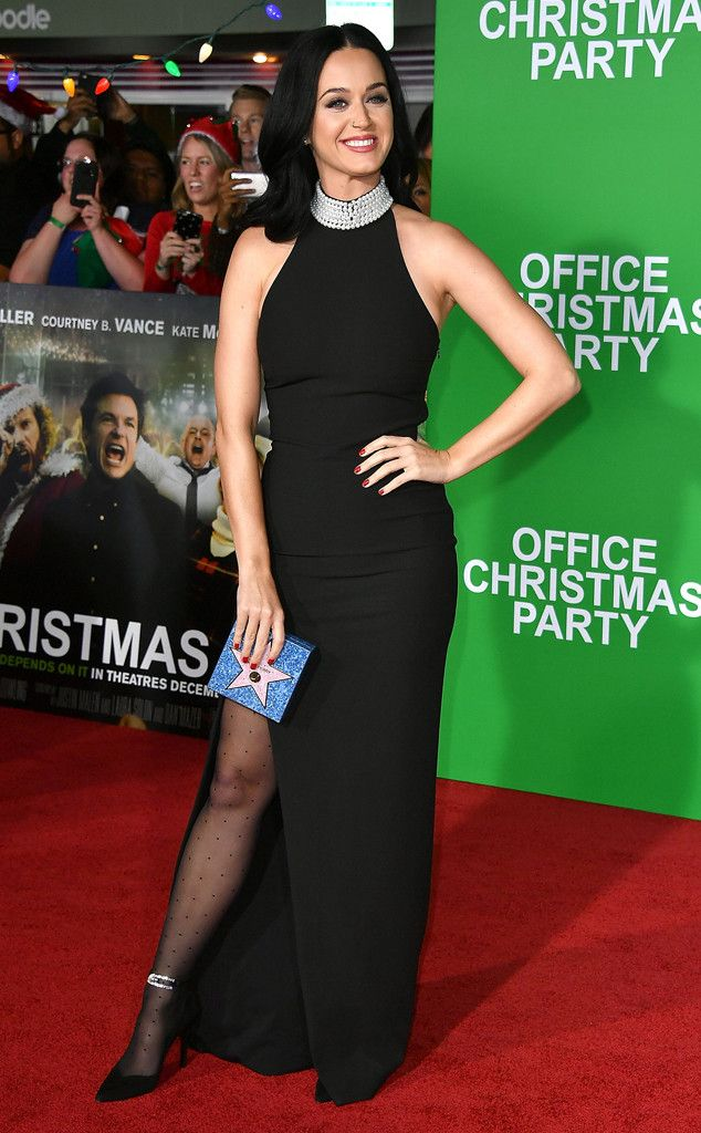 Katy Perry from The Big Picture: Today's Hot Pics  Little bit o' leg! The singer looks glam on the carpet for the premiere of Office Christmas Party in Wesetwood, Calif.