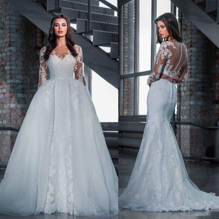 Simple Elegant 2015 Women Summer Wedding Dresses Flowing: 2016 Modest Mermaid Full Lace Bridal Wedding Dresses With