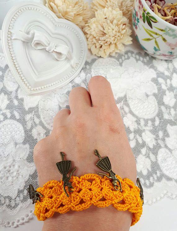 Yellow ballerina bracelet crochet bracelet with charms