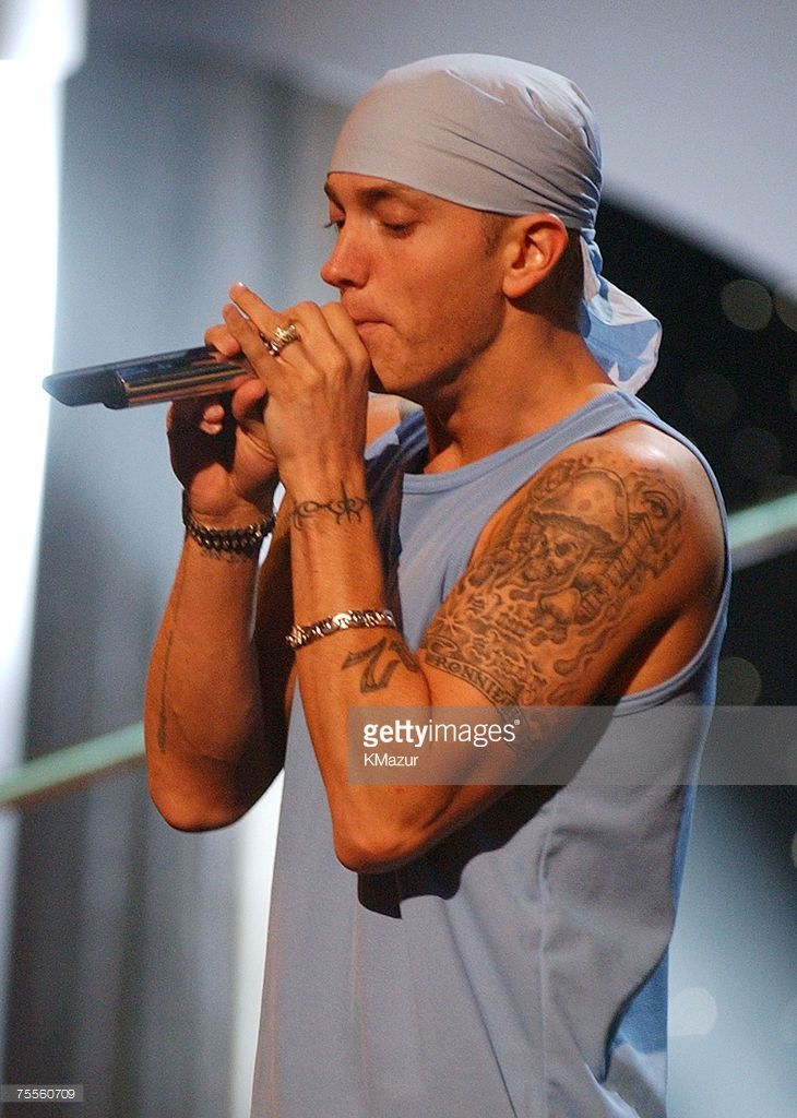 Eminem performs during rehearsals at the 2002 MTV Movie Awards in Los Angeles