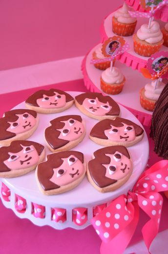 Pink and Purple Dora and Boots theme cookies