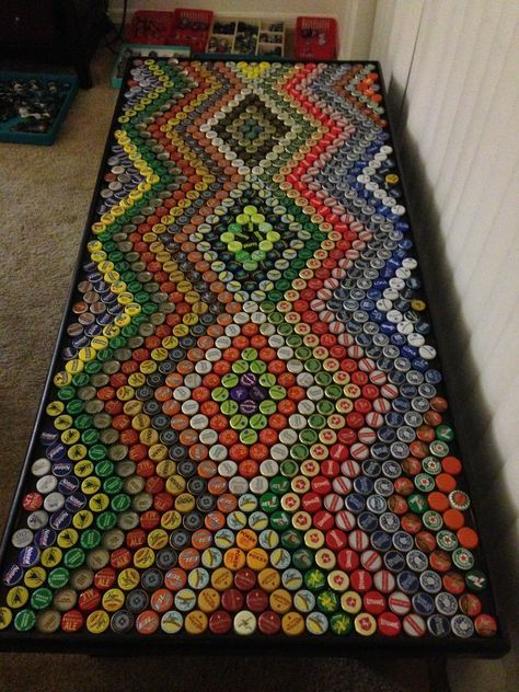 Best 25 bottle cap table ideas on pinterest beer bottle for How to make a table out of bottle caps