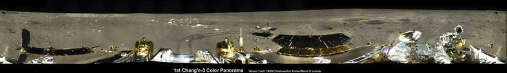 This image is a 360-degree panorama of the Chang'e-3, Yutu Rover landing site created by Ken Kremer and Marco Di Lorenzo. It was stitched from six individual pictures released to a state-run China news outlet. The initial panoramic was then enhanced to improve contrast, lighting and uniformity, which revealed more detail.
