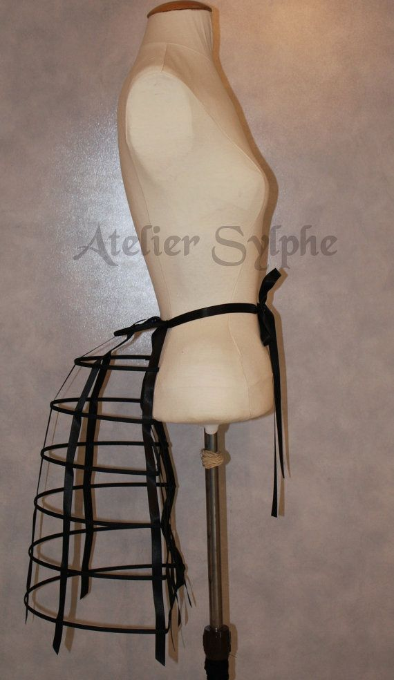 one Black ribbon and lacing Crinoline hoop by AtelierSylphecorsets, $68.00