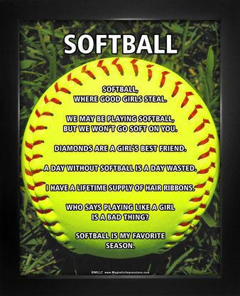 Buy Softball on Field 8x10 Sport Poster Prints as Gifts for Softball Players. Inspirational Softball Quotes and a bright softball make this poster print a home run!