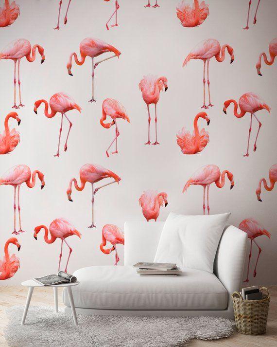 Flamingo Wallpaper Pink Wallpaper Removable Wall Mural Etsy Flamingo Wallpaper Pink Wallpaper Removable Wall Murals