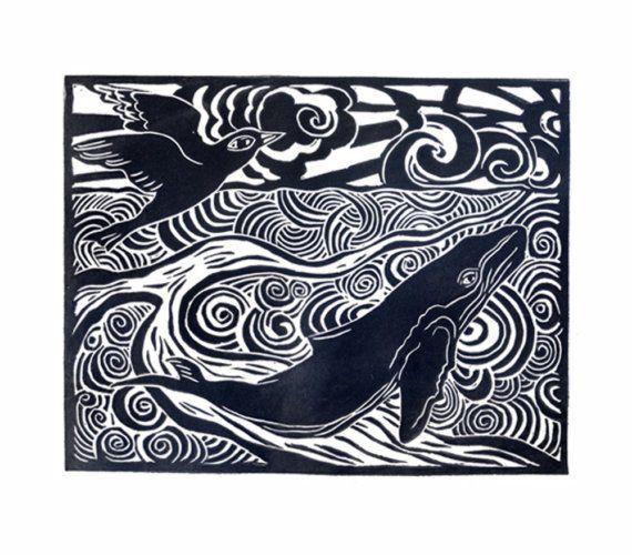 Ocean harmony original linocut linocuts block prints