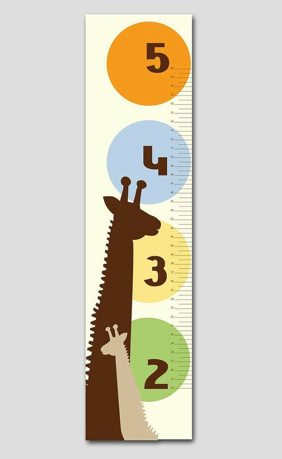 Brown, Yellow and Orange Giraffe Growth Chart- Vinyl Print, Growth Charts for Girls, Nursery and Childen Decor on Etsy, $79.95