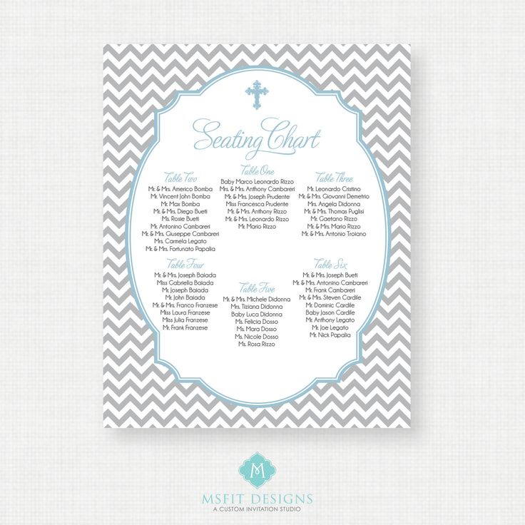 Baptism Seating Chart - Christening Seating Chart - Table ...