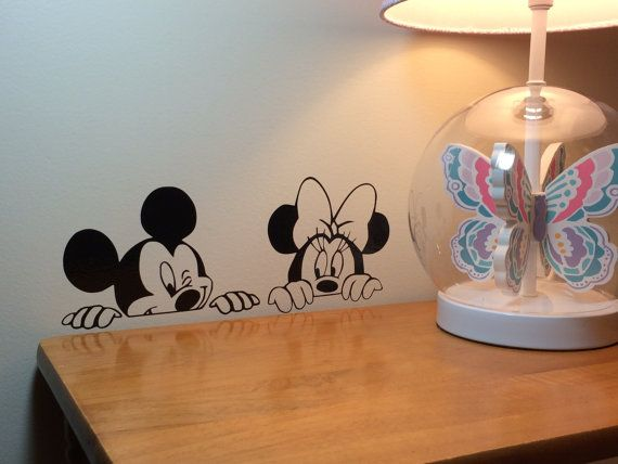 Mickey and Minnie Vinyl Wall Decal Disney wall by VinylMamashop