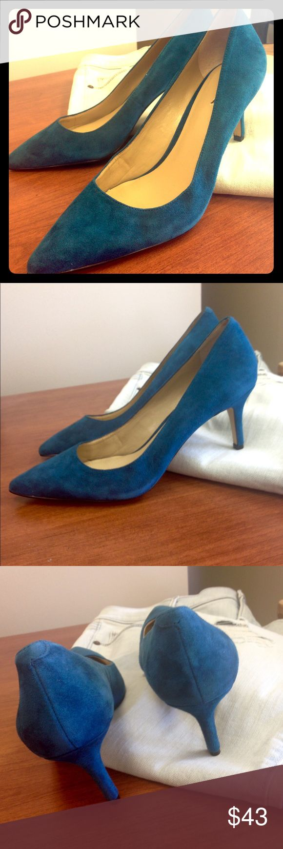 NWT Ann Taylor dark blue spruce pumps Flawless, velvety finish to these classy pumps. Besides scuffing on bottoms these are immaculate. Unique teal color. Ann Taylor Shoes Heels