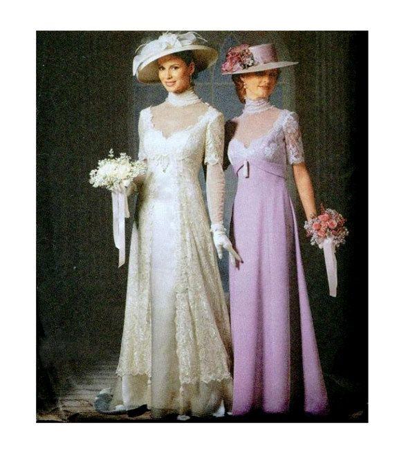 Gibson girl wedding dress pattern empire waist bridesmaid for Empire waist wedding dress patterns