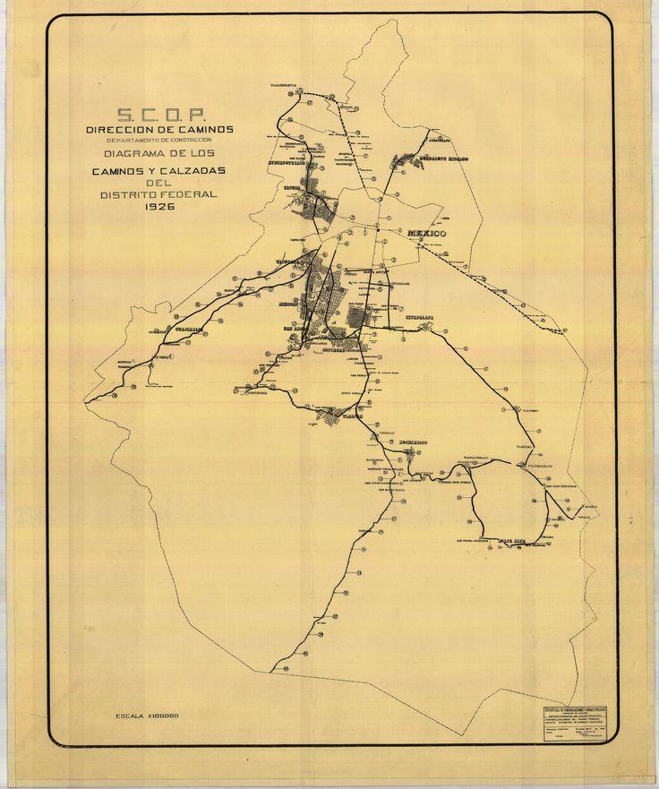 SCOP (1926) Diagrama de los caminos y calzadas del D.F.