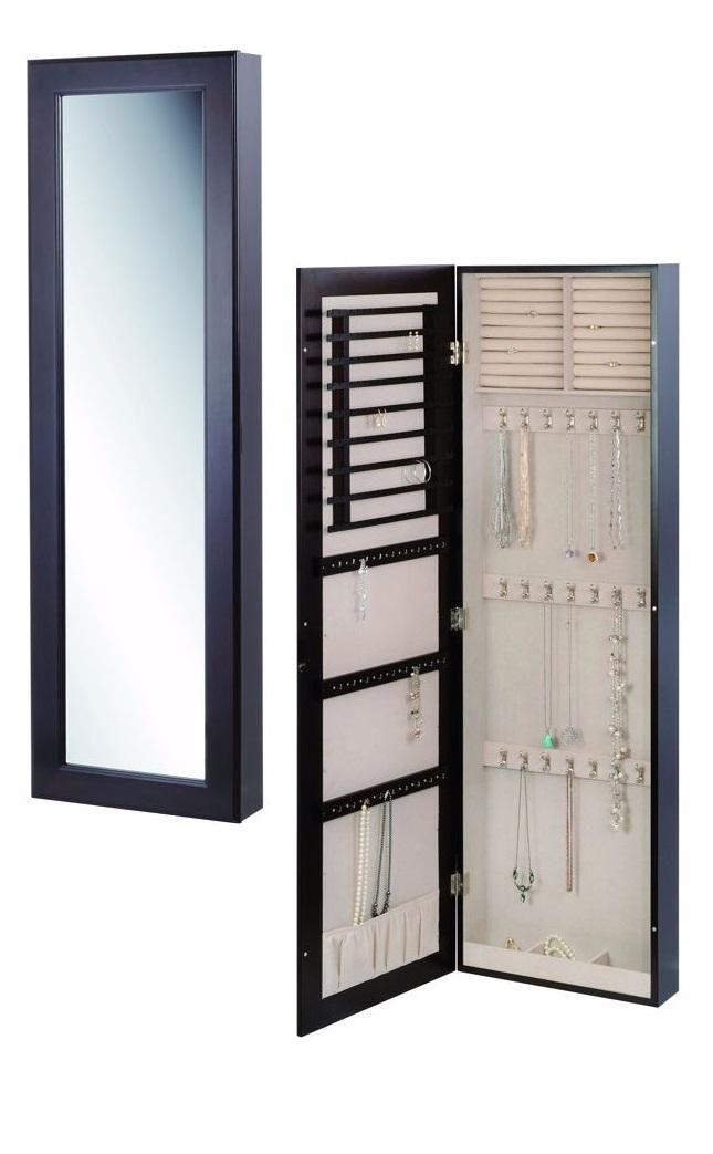 This sophisticated full length wall mount mirror stores for Mirror jewelry storage