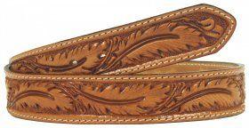 Mens - Hand-Tooled - Double J Saddlery Belt - B160-Natural Feather Tooled Stitched Belt