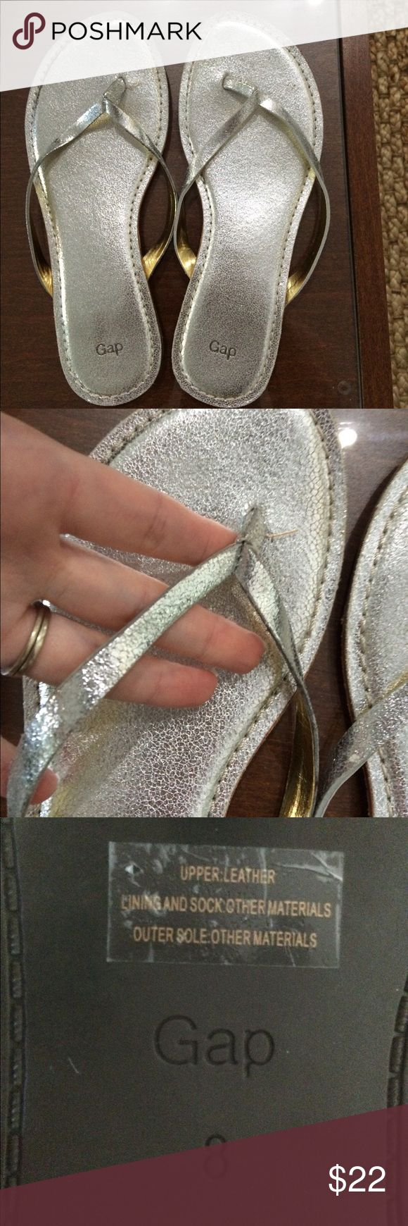🎉Gap leather silver metallic flip flops These are sparkly for being leather, very cute, easy to dress up an outfit with them. They have been worn once. The entire upper including the footbed is leather. They're quite comfortable. Thank you for Poshing with me! 😀💖 Shoes Sandals
