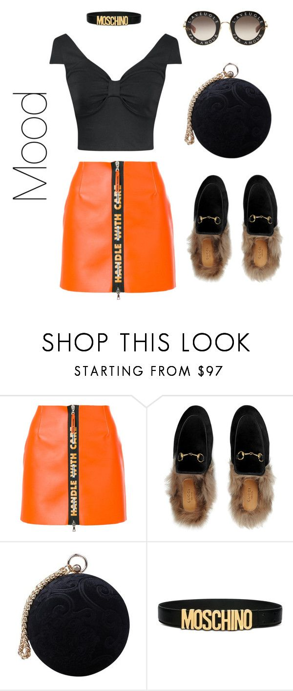 """Untitled #4"" by burlakayana ❤ liked on Polyvore featuring Heron Preston, Gucci, Carvela and Moschino"