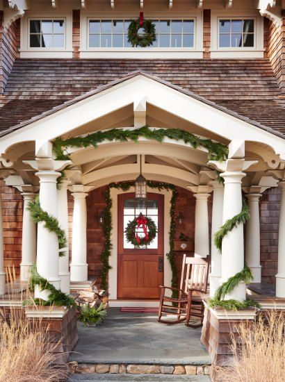 Holiday decorating on the coast front door