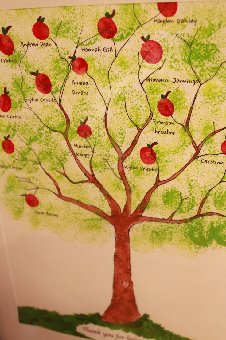 """Apple tree painting for teacher. Mrs. Donna's kindergarten students put their thumb-prints on the branches and we turned them into apples. The bottom of the painting says, """"Thank you for helping us grow."""""""