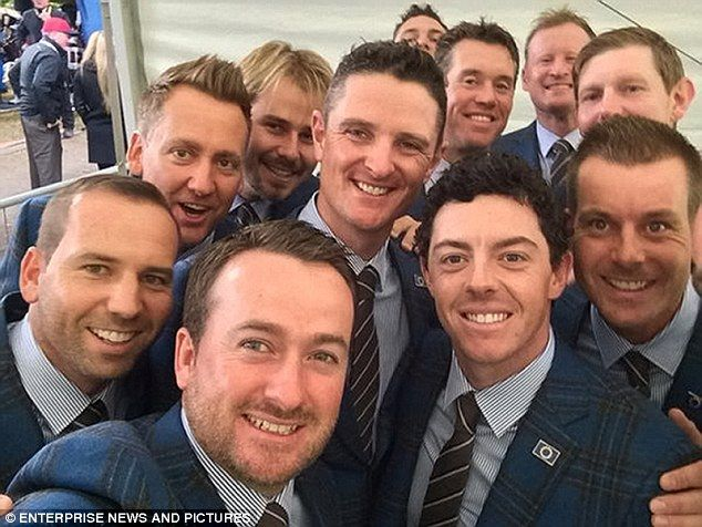 Graeme McDowell snaps a selfie with Europe's Ryder Cup team