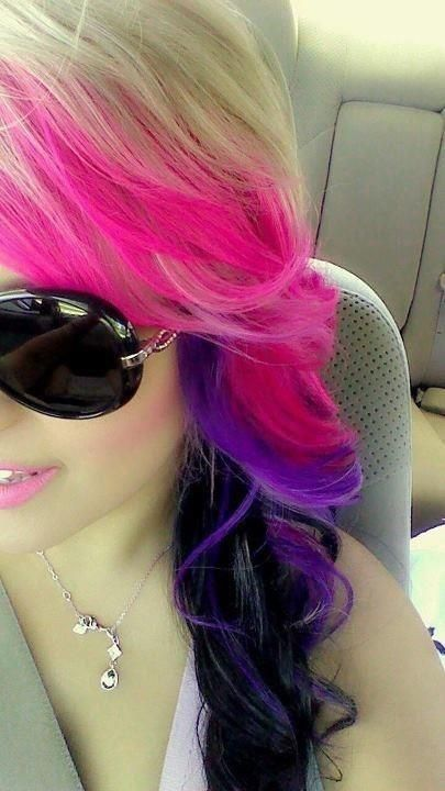 black and pink hairstyles | Purple and pink dyed with black tips on blonde hair.
