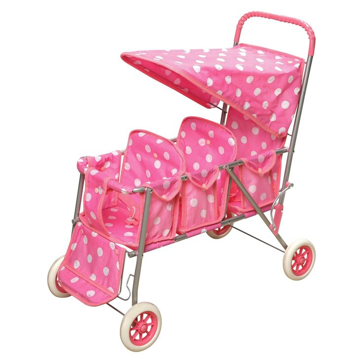 Your little girl can take her dolls on a stroll around the neighborhood in the pink polka-dotted Badger Basket doll stroller. It has 3 seats for 3 dolls and a large canopy that can be flipped to place the dolls inside. This stroller has an adjustable foot rest for the front seat and 2 point seat belts to help keep the dolls secure. Its handle has rubber grip, allowing your child to control and maneuver the stroller comfortably. This doll stroller with canopy is suitable for children over 3…