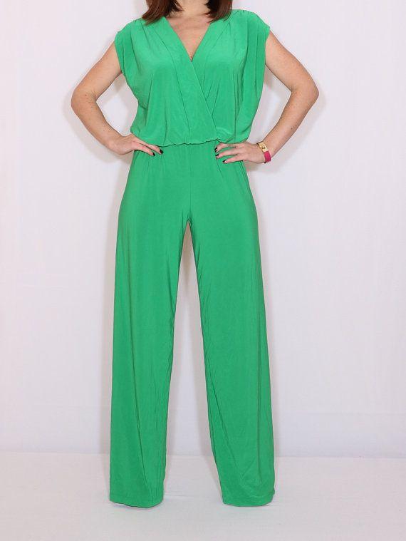 54a5081c76 Wrap top sleeveless jumpsuit Women jumpsuit Apple green jumpsuit Bright  green jumpsuit