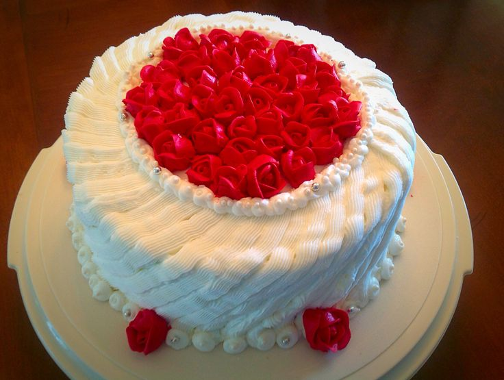 I made this wonderful red velvet cake with buttercream frosting.  For our 40 th wedding Anniversary.