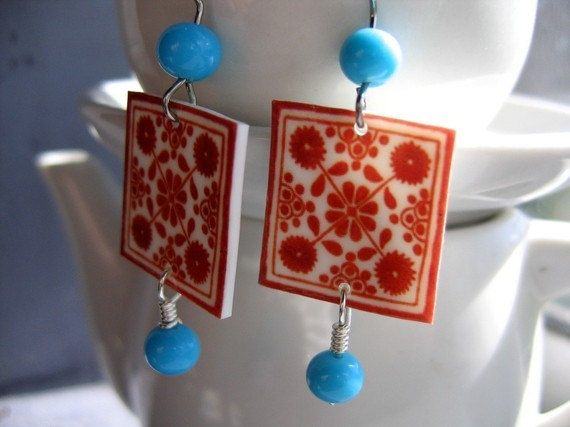 "Mexican Talavera tiles earrings--does this say ""Serena"" or what??"