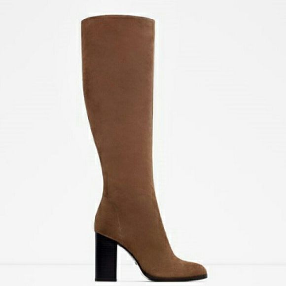 zara leather suede knee high boots nwt high boots