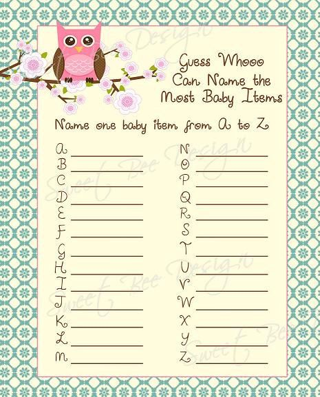 **Amber's Shower** Name one baby item from A to Z. Also would be fun to try to use this list to see how many names you can come up with.
