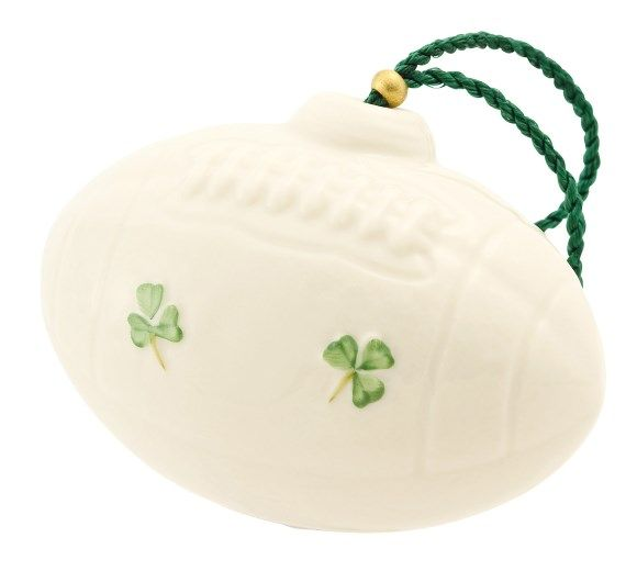 Belleek China American Football / Rugby Ball Hanging Ornament Perfect for Sports Lovers this Rugby/American Football Ornament is a thoughtful gift for dad. Beautifully designed and handcrafted in Ireland, featuring hand embossed detail and hand painted shamrocks. £20.00