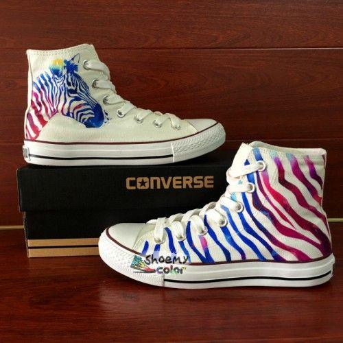 High Top Converse Painted Zebra Stripes Canvas Sneakers Women Men