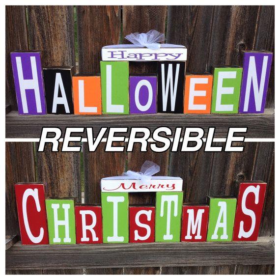 REVERSIBLE Happy Halloween and Merry Christmas wood blocks on Etsy, $50.00