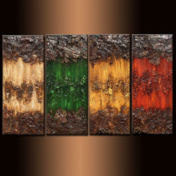 Original texture abstraite peinture contemporaine Multipaneled Fine Art  TITRE ; AU SEIN DE LATTRACTION 2  TAILLE : 64 « X 36 » X 1,58  4 PANNEAUX DE 16 « X 36 »  (TEXTURE RICHE, FINITION À HAUTE BRILLANCE)   Cette peinture moderne abstraite contemporaine a été peint sur toile libre acide enveloppées par Galerie. Seulement la qualité fine art matériaux ont été utilisés. les bords sont sans agrafe, peint en noir. Pas besoin de cadre. Prêt à accrocher. Couche finale de vernis beaux-arts a été…